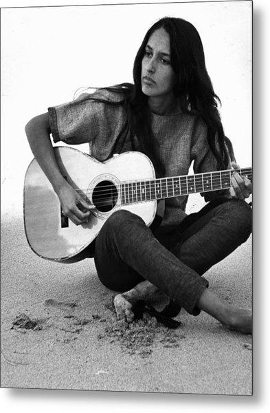 Joan Baez Playing Guitar On The Beach Metal Print by Ralph Crane