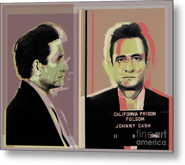 Johnny Cash Mugshot Pop Art Warhol Style Metal Print