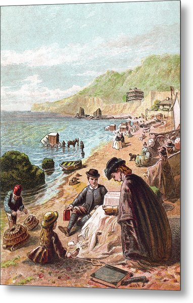 July - Victorians At The Seaside Metal Print by Whitemay