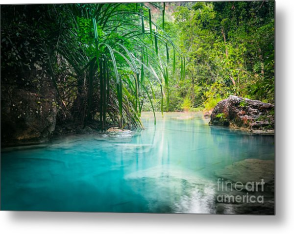 Jungle Landscape With Flowing Turquoise Metal Print