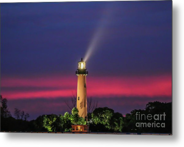 Metal Print featuring the photograph Jupiter Light Beam by Tom Claud