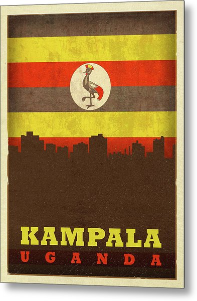 Kampala Uganda World City Flag Skyline Metal Print