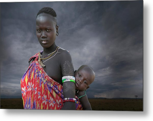 Karo Tribe  Woman With Child Metal Print by Buena Vista Images