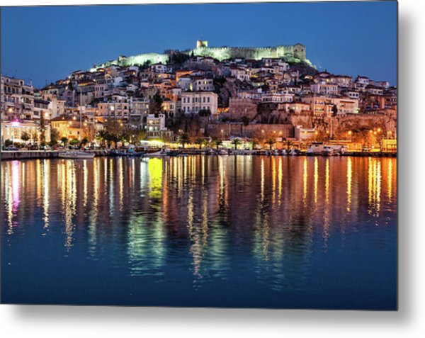 Kavala Town At Night Metal Print