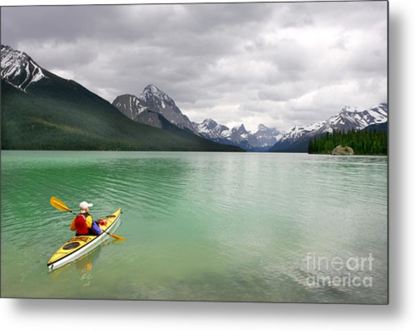 Kayaking In Banff National Park, Canada Metal Print by Oksana.perkins