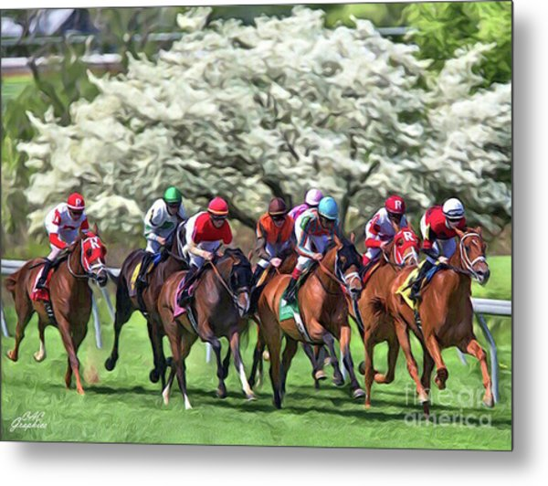 Keeneland Down The Stretch Metal Print