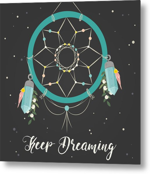 Keep Dreaming - Boho Chic Ethnic Nursery Art Poster Print Metal Print