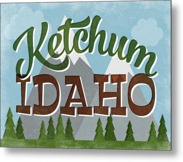 Ketchum Idaho Retro Mountains Metal Print