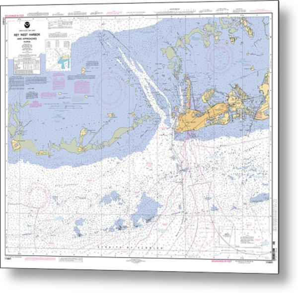 Key West Harbor And Approaches, Noaa Chart 11441 Metal Print