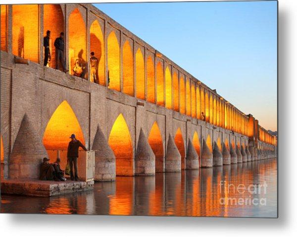 Khajoo Bridge Over Zayandeh River At Metal Print