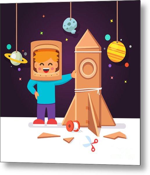 Kid Making Cardboard Box Rocket And Metal Print