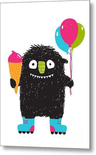 Kids Fun Monster With Ice-cream Metal Print