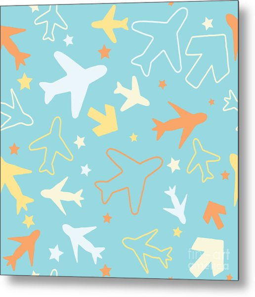 Kids Pattern Background With Color Metal Print
