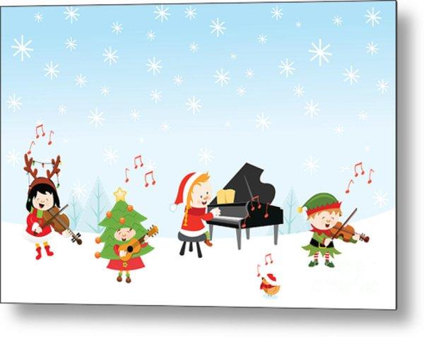 Kids Playing Christmas Songs Metal Print