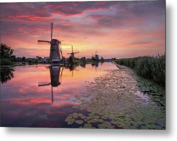 Kinderdijk Sunset Metal Print