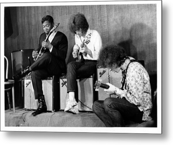 King, Clapton & Bishop Jam Metal Print by Michael Ochs Archives