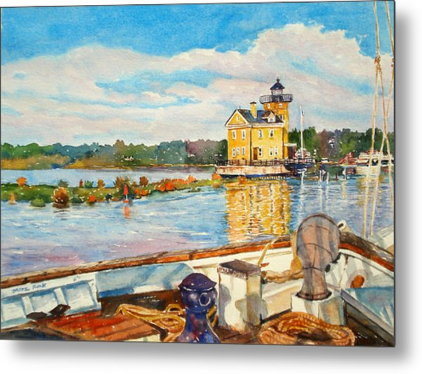 Kingston Lighthouse From The Sloop Clearwater Metal Print by Mira Fink