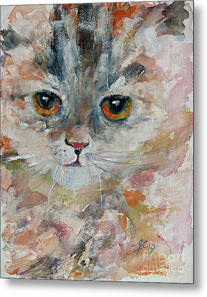 Metal Print featuring the painting Kitten Portrait by Ginette Callaway