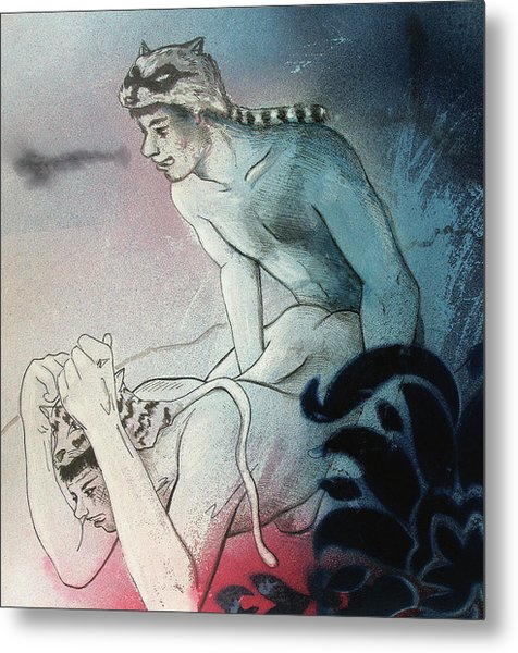 Metal Print featuring the drawing Kittty In Trouble by Rene Capone