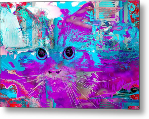 Kitty Collage Blue Metal Print