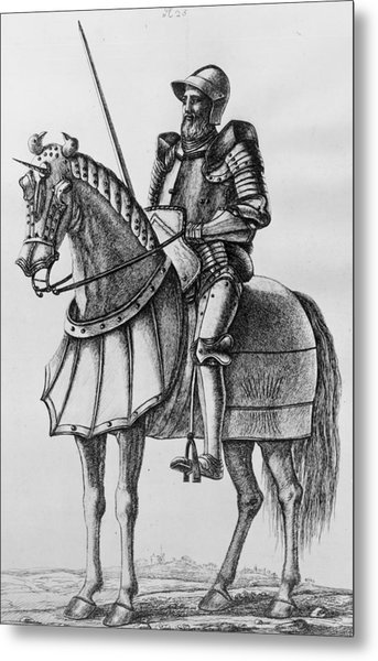 Knight In Armour Metal Print by Hulton Archive