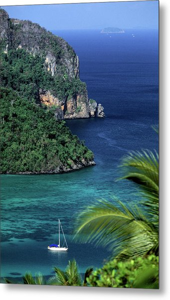 Ko Phi Phi Don, Yacht At Anchor Metal Print by John Seaton Callahan