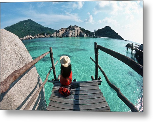 Ko Tao, Ko Nang Yuan Islet, Woman On Metal Print