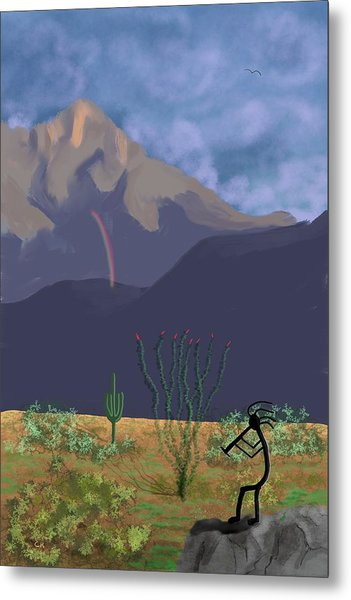 Metal Print featuring the digital art Kokopelli And Mount Wrightson by Chance Kafka
