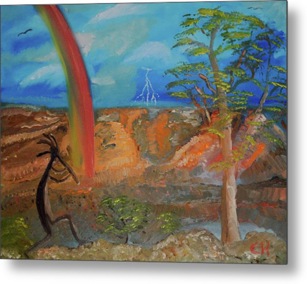 Metal Print featuring the painting Kokopelli Calls The Storm by Chance Kafka