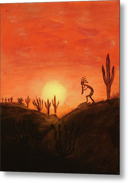 Metal Print featuring the painting Kokopelli's Sunset Song by Chance Kafka
