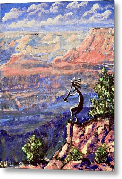 Kokopelli At The Grand Canyon  Metal Print