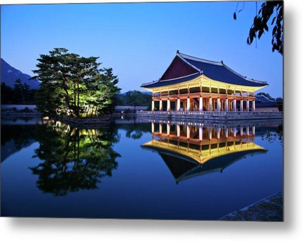 Korean Royal Palace In Night Metal Print