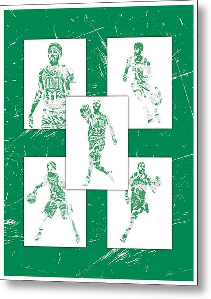 Kyrie Irving Boston Celtics Panel Pixel Art 1 Metal Print