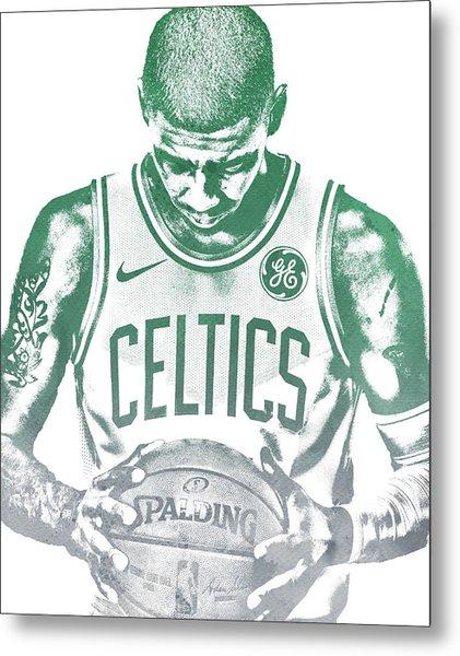 Kyrie Irving Boston Celtics Water Color Pixel Art 30 Metal Print