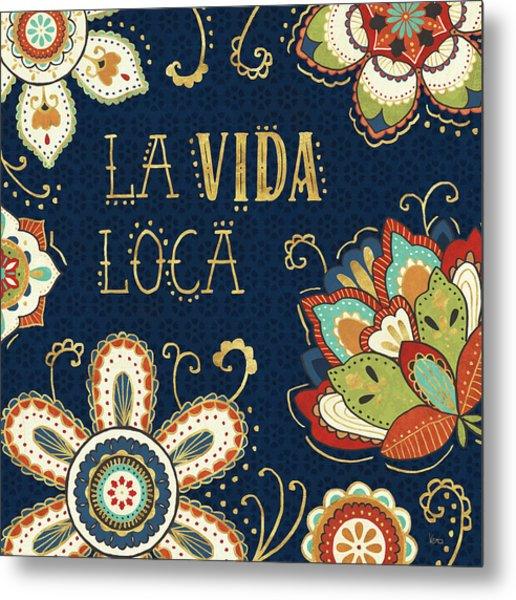 La Vida Loca II Blue Metal Print by Veronique Charron