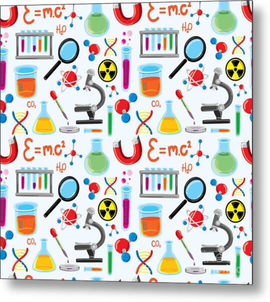 Laboratory Equipment Seamless Background Metal Print