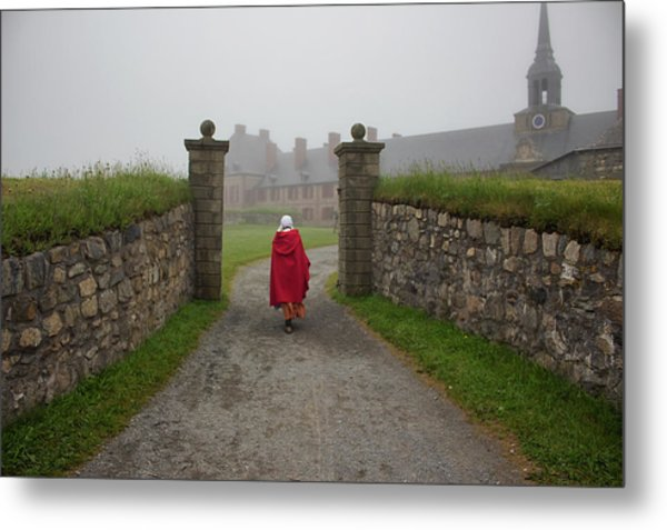 Lady In Red - Fortress Louisburg Metal Print