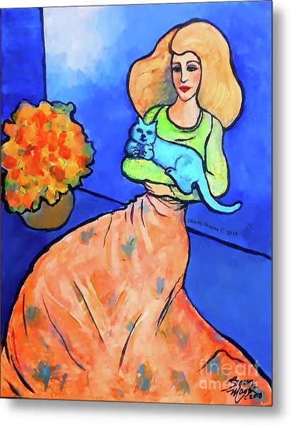 Lady With Blue Cat Metal Print