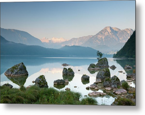 Lake Altaussee With Glacier Dachstein Metal Print by 4fr