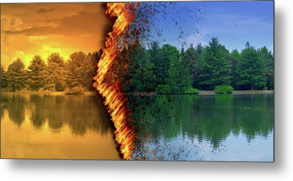 Lake Forest Fire Metal Print