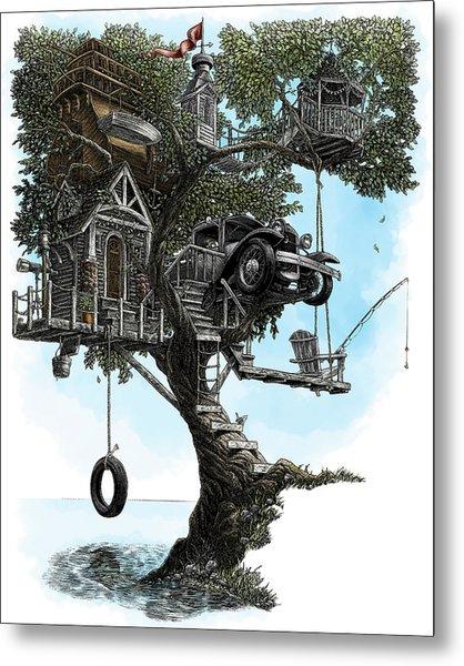 Lake Front Dream House Metal Print