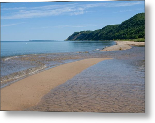 Lake Michigan Beachscape With Wooded Metal Print