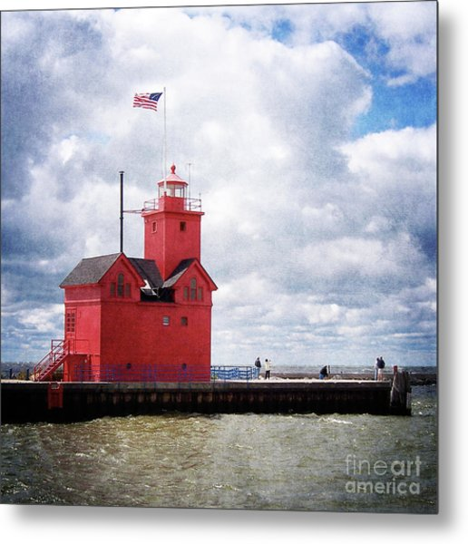 Lake Michigan Light House Metal Print