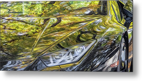 Lamborghini Fall Reflections Metal Print
