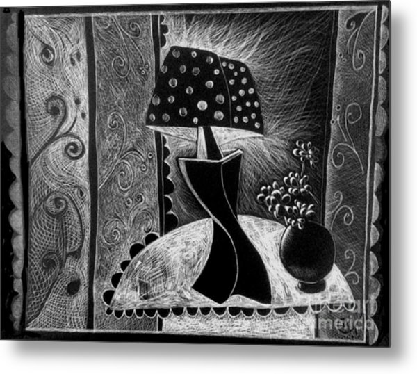 Lamp And Flowers. Metal Print