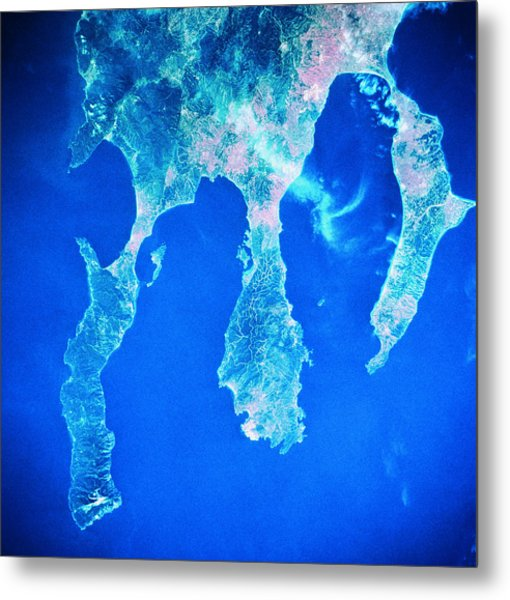 Land And Sea Viewed From A Satellite Metal Print by Stockbyte