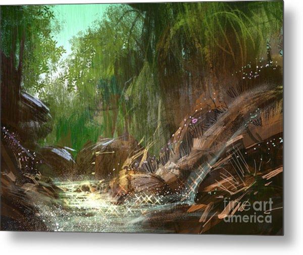 Landscape Digital Painting Of Metal Print