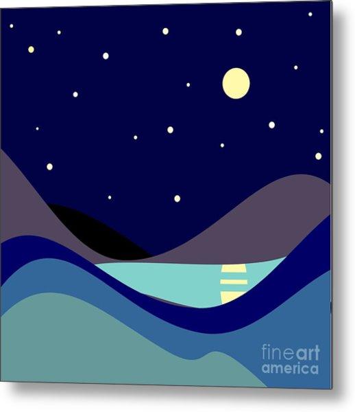 Landscape. Moonlit Night. Vector Metal Print