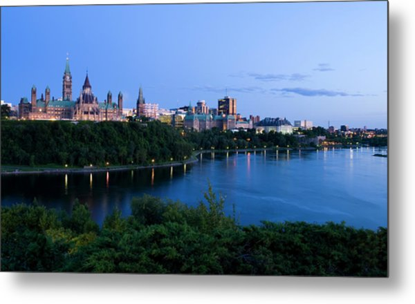 Landscape Shot Of The Ottawa Skyline In Metal Print