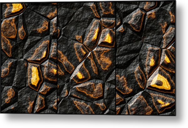 Large Gold Stone Triptych Metal Print